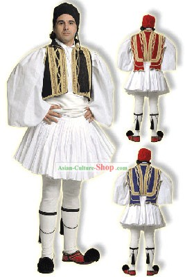 Euzonas Tsolias Black Male Traditional Greek Dance Costume
