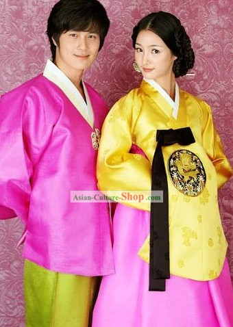 Traditional Korean Hanbok Couple Dress Set