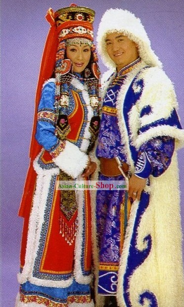 Chinese Traditional Mongolian Costume for Bride and Bridegroom