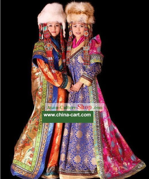 Chinese Traditional Handmade Mongolian Long Robe and Hat for Women