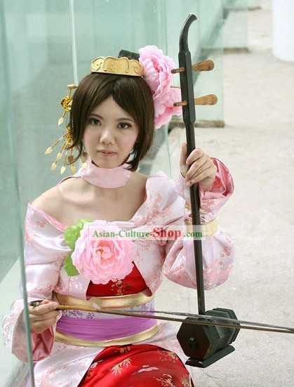 Chinese Three Kingdoms Diao Chan Cosplay Costume and Hammer Complete Set