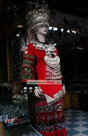 Traditional Miao Wedding Dress and Miao Jewlry Complete Set