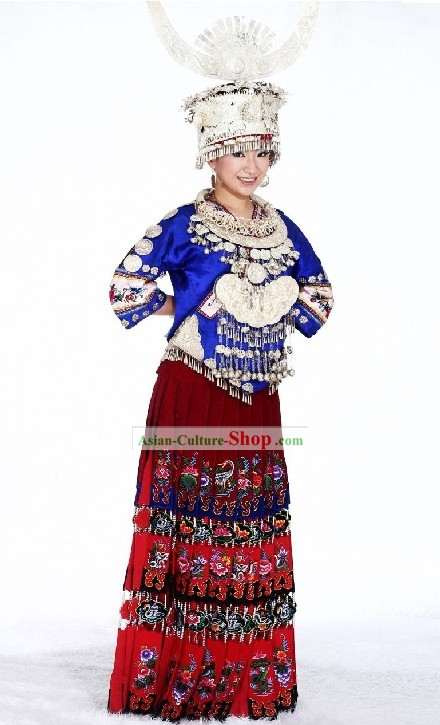 Chinese Traditional Miao Minority Costumes, Silver Crown and Necklace Complete Set