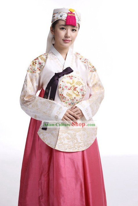 Traditional Korean Hanbok Clothing and Hat Set