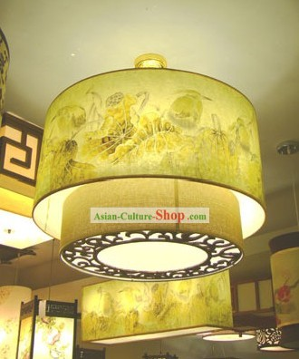 Chinese Traditional Flower Painting Large Ceiling Lantern