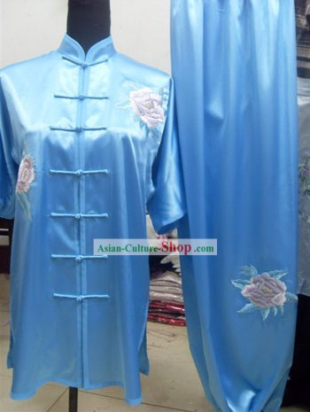 Traditional Peony Silk Kung Fu Suits Complete Set for Men or Women