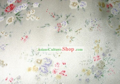 Traditional Chinese Flower White Silk Fabric