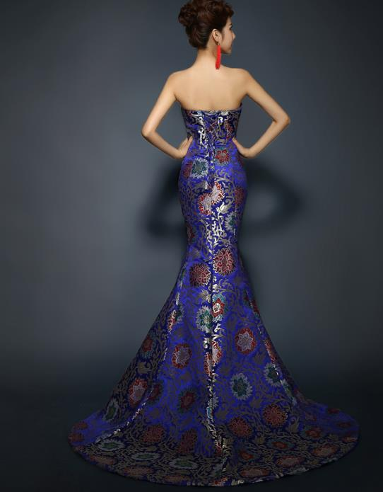 Chinese Peony and Butterfly Tie Evening Dress