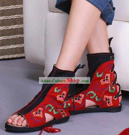Chinese Embroidered Summer Boots for Women