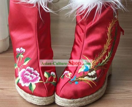 Chinese Handmade Embroidery Bird and Flower Boots