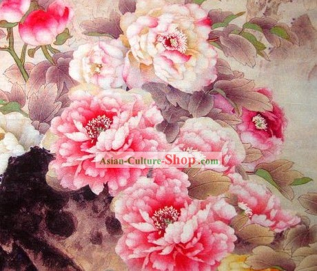 Chinese Classical Peony Silk Fabric