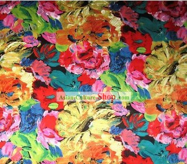 Chinese Sun Flower Silk Fabric