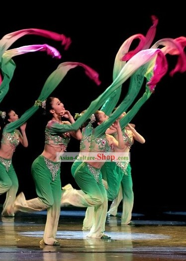 Traditional Chinese Water Sleeve Dance Costumes Complete Set