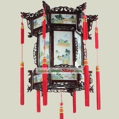 Chinese Classical Wooden Landscape Palace Lantern