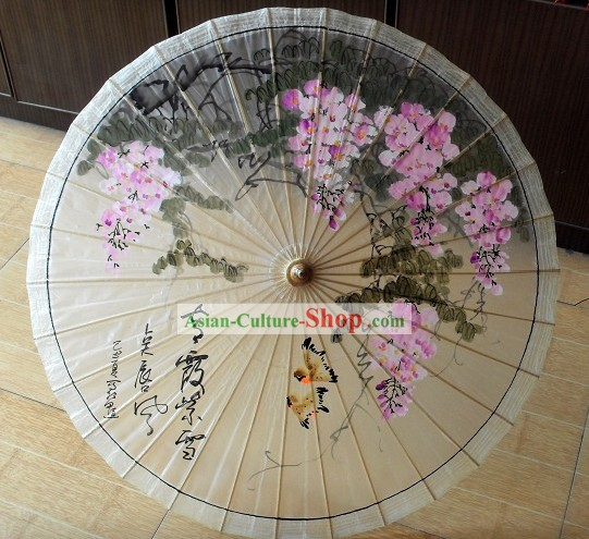 Chinese Painted Flower and Bird Oilpaper Umbrella