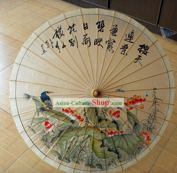 Chinese Traditional Bird Flower Painting Umbrella