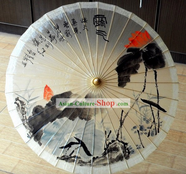 Chinese Traditional Oil Painting Lotus Display Umbrella