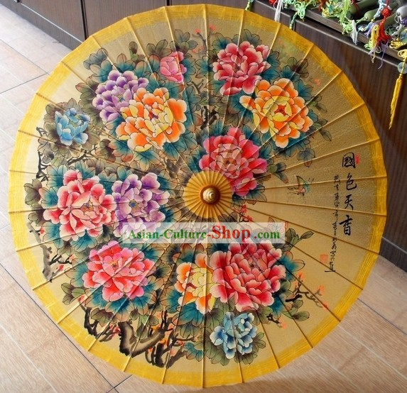 Chinese Traditional Painting Peony Umbrella Collectible