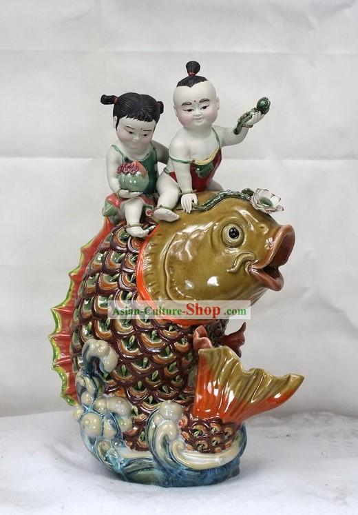 Happy chinese new year shiwan ceramic figurine
