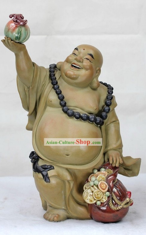 Monk Celebrating Your Birthday Shiwan Ceramic Sculpture Figurine