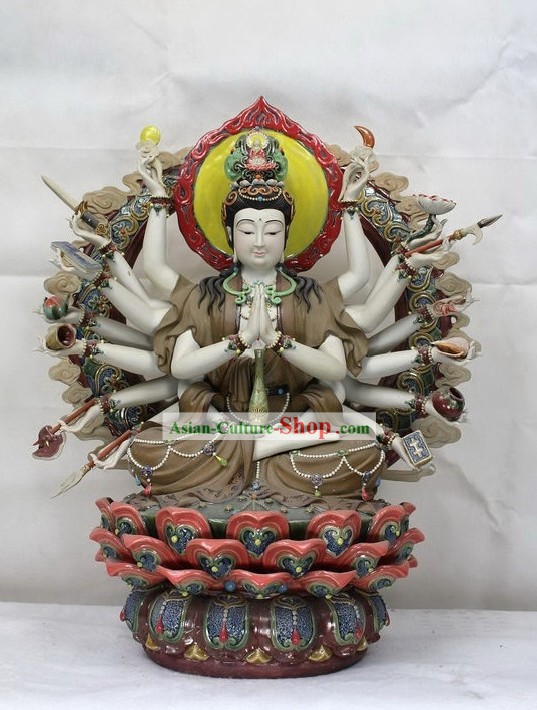Thousands Hands Guan Yin Shiwan Ceramic Sculpture Figurine