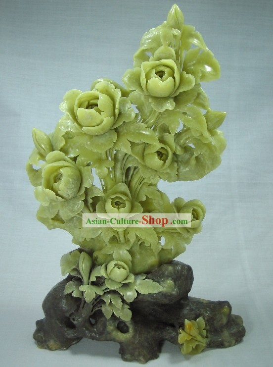 Supreme Natural Jade Flower Sculpture Collectible