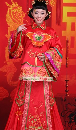 Chinese Classic Butterfly Wedding Clothes for Brides