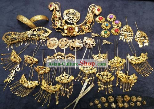Ancient Chinese Princess Headpiece, Earrings and Bracelets Complete Set