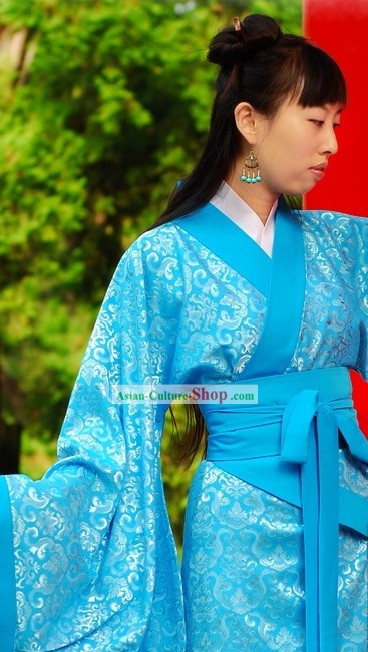 Traditional Chinese Blue Princess Clothing for Women