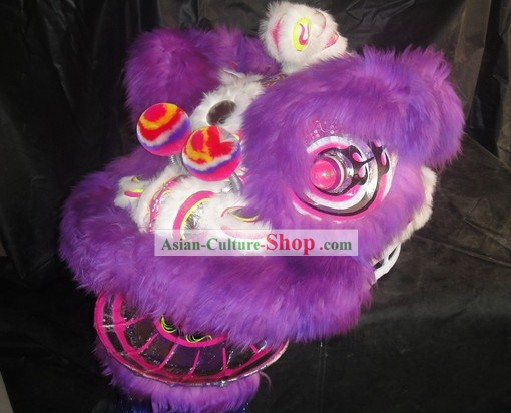 Top Purple Sheep Fur Lion Dance Mask Body Pants Claws Complete Set
