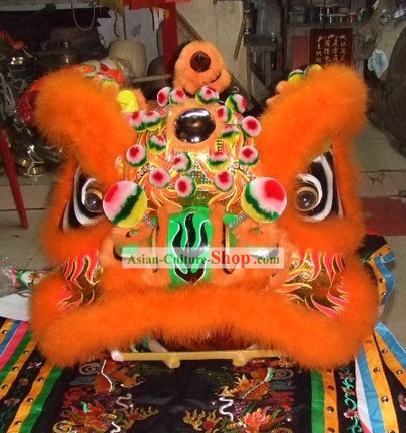 Luminous Orange Sheep Fur Lion Dance Mask Costumes Complete Set