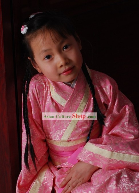 Stunning Traditional Chinese Pink Hanfu for Kids