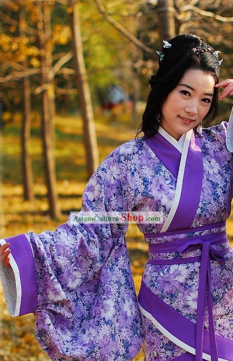 Ancient Chinese Purple Flower Hanfu Clothing