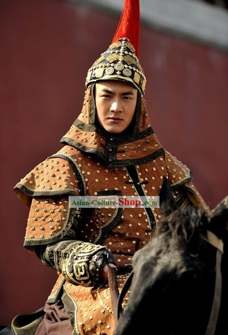 Ancient Qing Dynasty Prince Armor and Helmet Complete Set