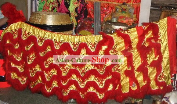 Red Sheep Fur Lion Dancing Body Tail Pants Claws Set