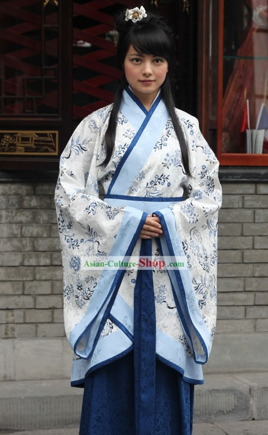 Ancient Chinese Blue Flower Princess Clothing Complete Set