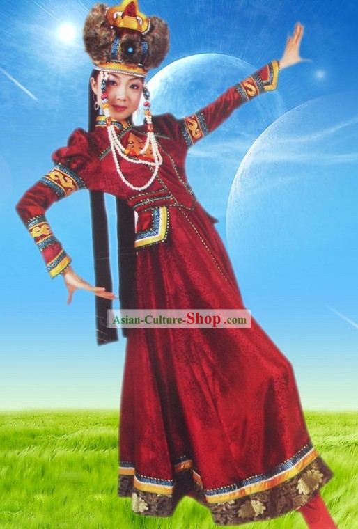 Traditional Mongolian Royal Robe and Hat Complete Set for Women