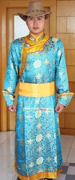 Traditional Mongolian Costumes and Hat for Men