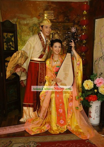 Ancient Chinese Emperor and Empress Wedding Dress 2 Sets for Men and Women