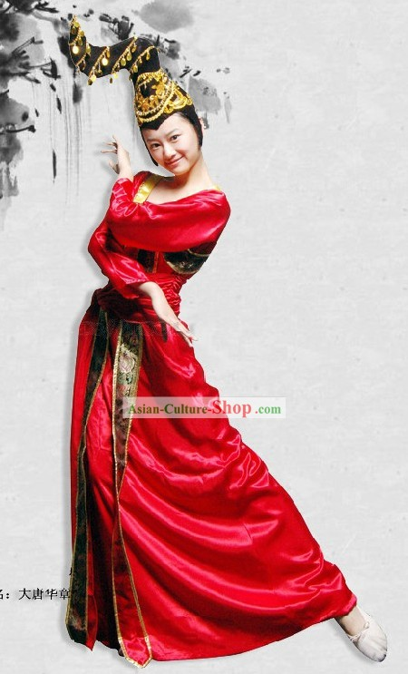 Ancient Tang Dynasty Dance Costume and Headpiece