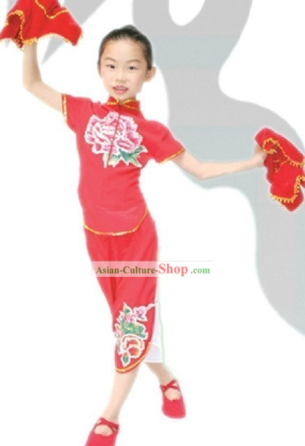 Traditional Chinese Fan Dance Costume for Kids