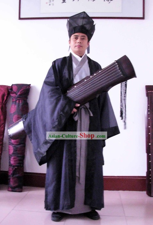 Ancient Chinese Koto Player Costume and Hat