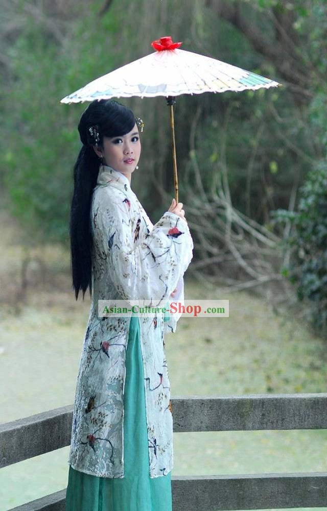 Chinese Classic Bird and Flower Outfit and Umbrella