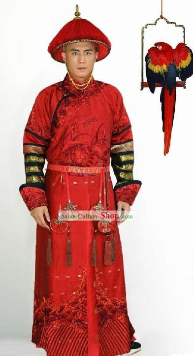 Qing Dynasty Prince Red Outfit and Hat