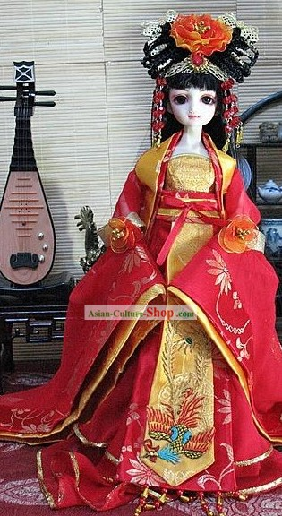 Traditional Red Wedding Dress Wig and Headpiece