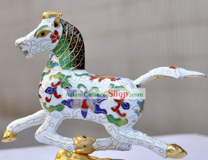 Chinese Classic Cloisonne White Running Horse