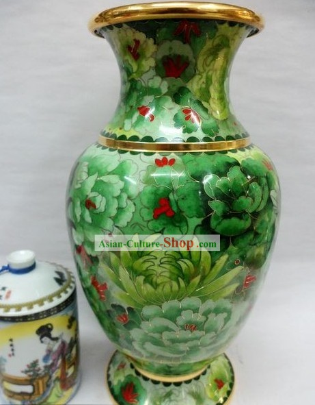 Chinese Classic Cloisonne Green Vase