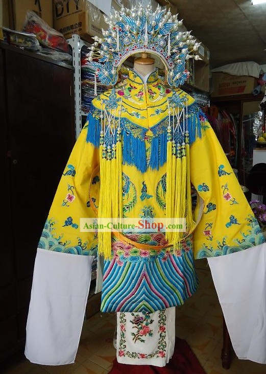 Chinese Peking Opera Empress Costume and Phoenix Crown Complete Set