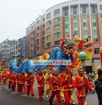 Blue and Yellow Peking Dragon Dance Costumes 2 Complete Sets