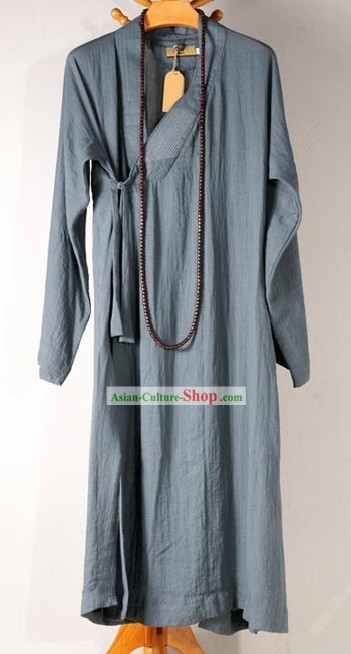 Traditional Chinese Grey Long Monk Robe